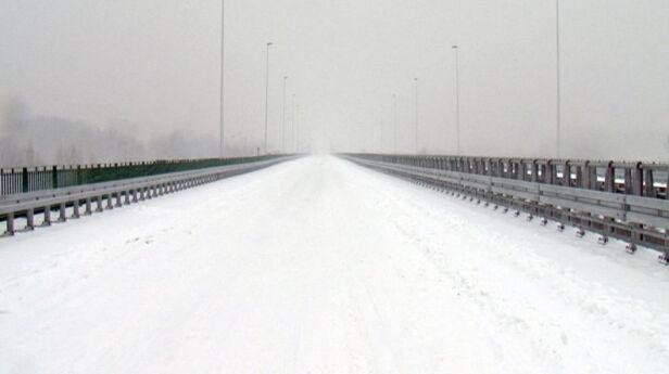 Most Północny pokryty śniegiem Dawid Krysztofiński/tvnwarszawa.pl