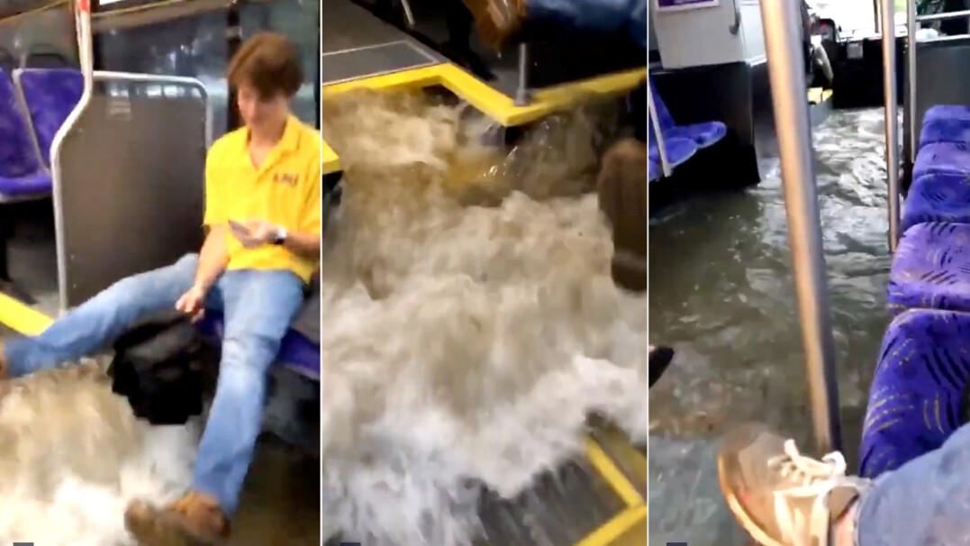 Woda po kostki w autobusie. Uczniowie w ulewie jadą do szkoły