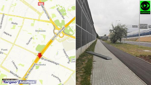 Opadł fragment ekranu przy wjeździe na Trasę AK norbi /Kontakt24, targeo.pl