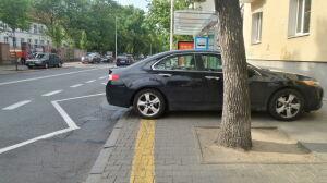 """""""Mistrzowskie"""" parkowanie hondy na przystanku"""