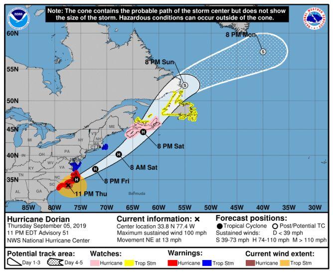 Prognozowana trasa przejścia huraganu Dorian (NHC)