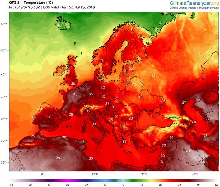 Prognozowana maksymalna temperatura na czwartek (climatereanalyzer.org)
