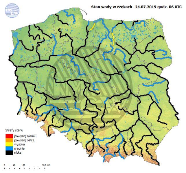 Stan rzek w Polsce 24 lipca o godzinie 8 (pogodynka.pl/hydro/rzeki/)