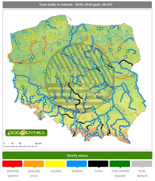 Stan wód w rzekach w sobotę o godzinie 6 (IMGW)