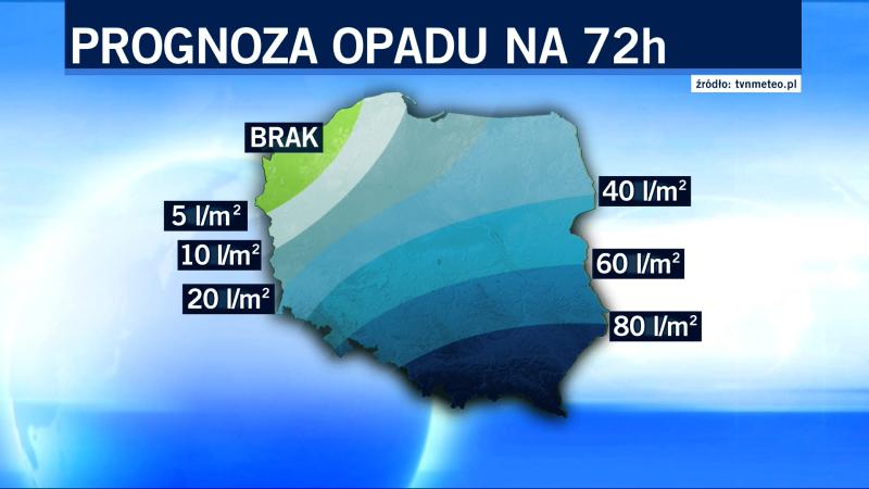 Prognozowane opady na 72 godziny